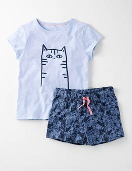 Cloud Blue Marl Cats Jersey PJ Set