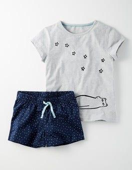 Bear Logo/Navy Stars Jersey PJ Set