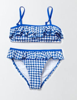 Skipper/Ivory Gingham Frilly Bikini