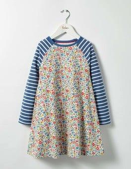 Multi Mini Folk Floral Jersey Swing Dress