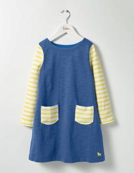Washed Bluebell Blue Stripy Jersey Dress