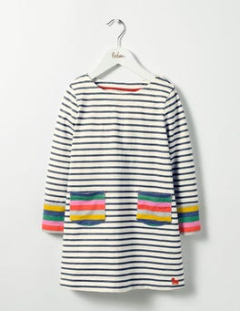 Ecru/School Navy Stripy Jersey Dress