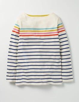 Navy/Ecru Rainbow Colourfully Stripy T-shirt