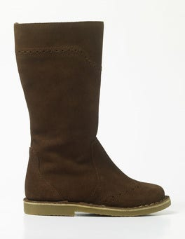 Chocolate Suede Tall Leather Boots