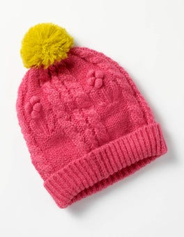 Honeysuckle Pink Cable Beanie Hat