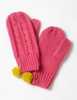 Honeysuckle Pink Cable Mittens