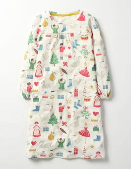 Ivory Christmas Printed Nightie