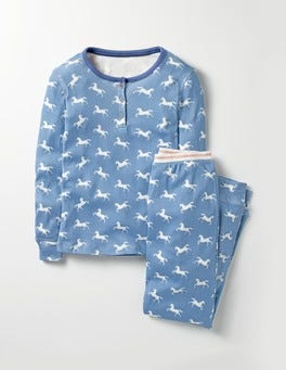 Washed Bluebell Blue Unicorn Henley Pyjama Set