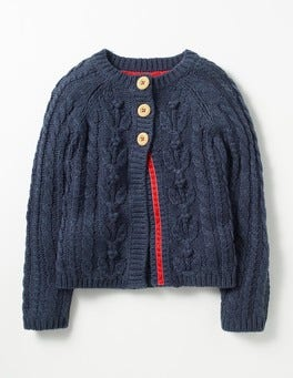 School Navy Cable Cardigan