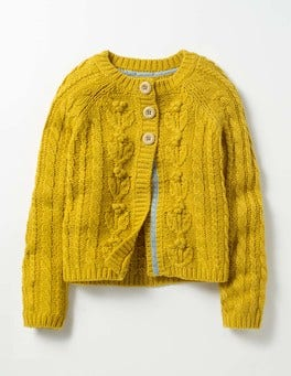 Saffron Yellow Cable Cardigan