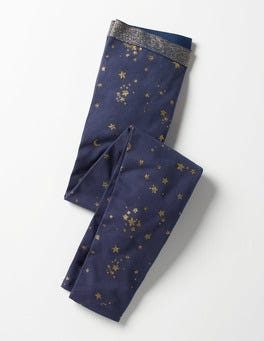 Navy/Gold Celestial Star Sparkle Detail Leggings