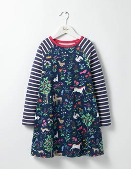 School Navy Tapestry Jersey Swing Dress