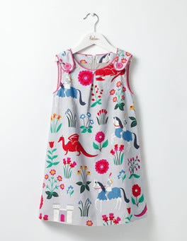 Shale Grey Lady Floralot Printed Cord Pinafore