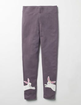 Misty Purple Bunny Appliqué Leggings