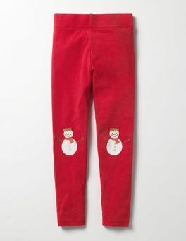 Ladybird Red Snowman Appliqué Leggings