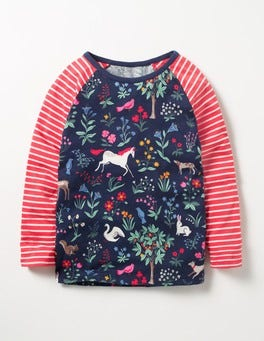 School Navy Enchanted Meadow Hotchpotch Raglan T-shirt