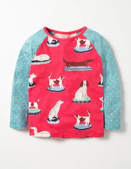 Pink Berry China Dogs Hotchpotch Raglan T-shirt