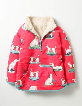 Pink Berry China Dogs Reversible Teddy Half-zip