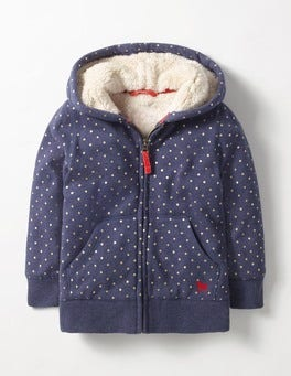 School Navy/Gold pin Spot Printed Shaggy-lined Hoodie