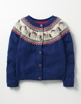 School Navy Unicorns Fair Isle Cardigan