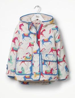 Ecru Carousel Ponies Sherpa-lined Anorak