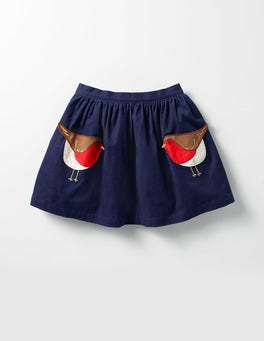 School Navy Robin Animal Pocket Skirt