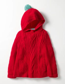 Ladybird Red Cable Poncho Jumper