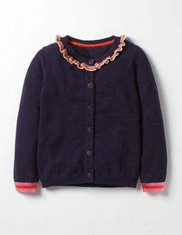 School Navy Sparkly Frill Cardigan