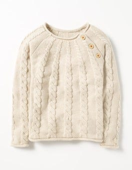 Ecru Marl Cable Chunky Knit Sweater