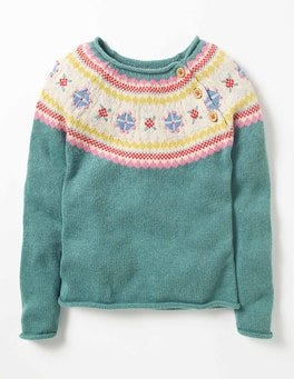 Csarite Green Marl Fair Isle Chunky Knit Sweater