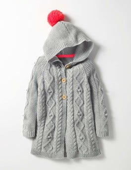 Grey Marl Long Cable Cardigan
