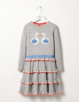 Grey Marl Swans Frilly Knitted Dress