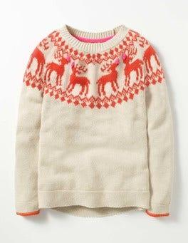 Ecru Marl Reindeer Fair Isle Jumper