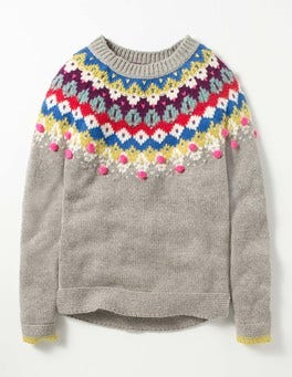 Grey Marl Fair Isle Fair Isle Sweater