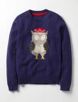 Dark Blue Owl Royally Good Jumper
