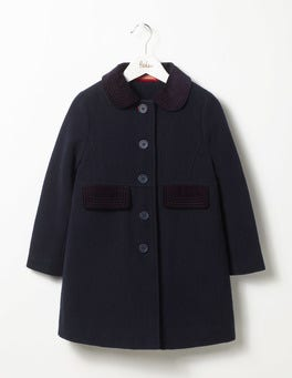 Mini Navy Velvet Collar Coat