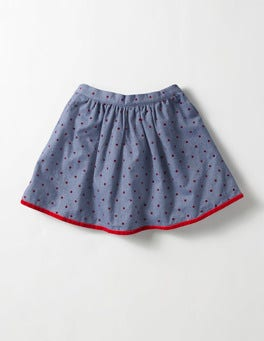 Chambray/Ladybird Red Spot Pretty Printed Skirt