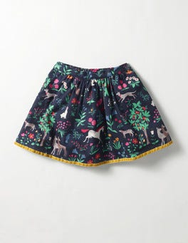 School Navy Tapestry Pretty Printed Skirt