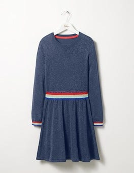 Soft Navy Sparkle Knitted Dress