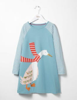 Frost Blue Duck Big Appliqué Jersey Dress