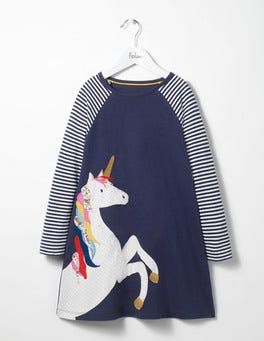 Navy Unicorn Big Applique Jersey Dress
