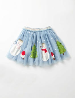 Wren Blue Snowmen Appliqué Party Skirt