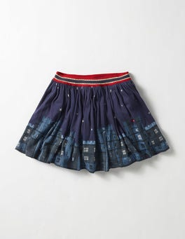 Navy Castle Party Jersey Skirt