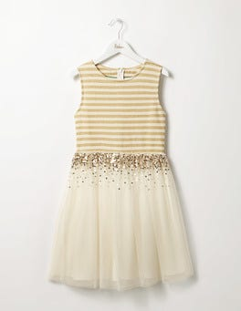 Ecru/Gold Sparkly Tulle Dress