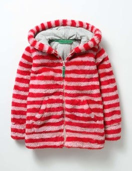 Vintage Pink/Ladybird Red Teddy Zip-up Hoodie