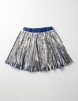 Silver Metallic Pleat Skirt