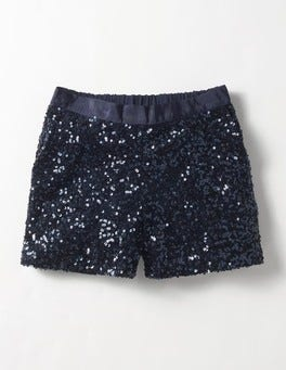 Navy Sequin Shorts