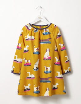 Saffron Yellow China Dogs Printed Woven Dress