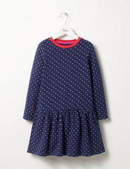 Soft Navy/Ecru Spot Cosy Printed Dress
