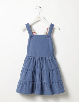 Azure Blue Twirly Cord Dungaree Dress